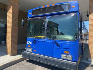 """Before selling its old vehicles, MCTS always removes its license plates and paints over logos and the """"Milwaukee County Transit System"""" words on the exterior."""