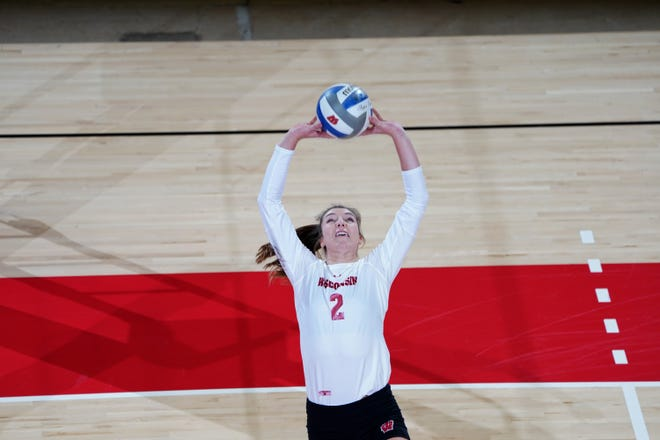 Sydney Hilley,  shown in an earlier match, had 37 assists and nine dig Thursday night.