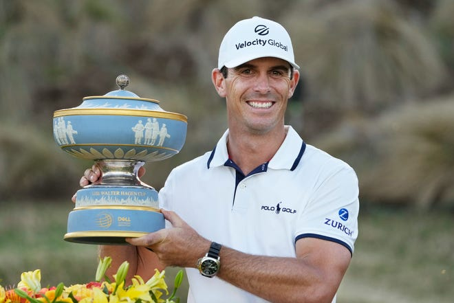 Billy Horschel holds his trophy after winning the Dell Technologies Match Play Championship on Sunday