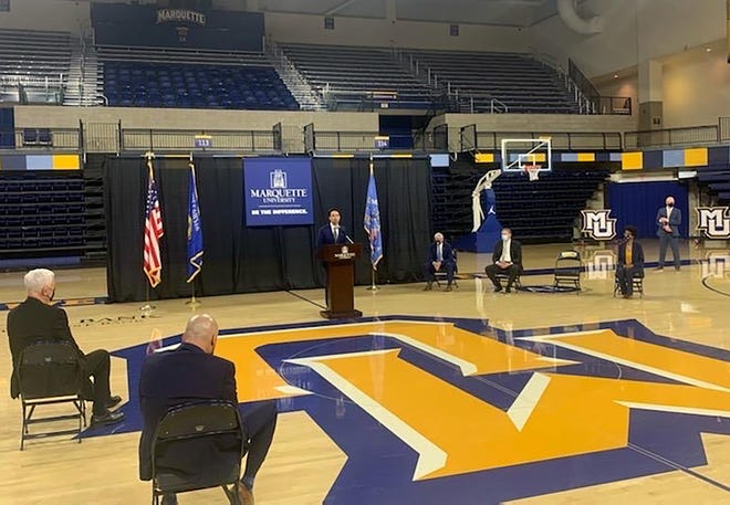 Shaka Smart is introduced as Marquette University's head men's basketball coach Monday at the Al McGuire Center.