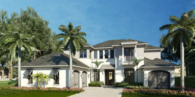 The Edgewater at 5,223 square feet is The Enclave of Distinction's largest custom home floor plan and includes five bedrooms and five baths, plus two half-baths, as well as spacious living, dining and family rooms, a den or office and a second floor bonus room.