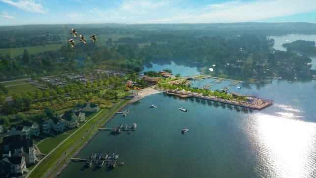 A photo of the design concept for Buckeye Lake State Park - North Shore shows a pier and other amenities possible for the area.