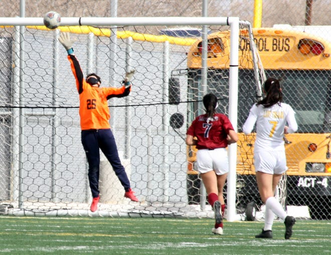 Senior Lady 'Cat Alissa Cordova (25) was pressed into goalkeeper duty during Saturday's match against the Mayfield High Trojans. Cordova was kept busy as Deming played down a player in a 10-0 loss.