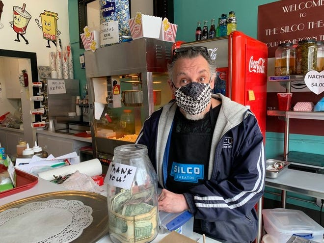 Joe Navan, proprietor of the Silco Theatre in downtown Silver City, N.M., has continued to sell carry-out concessions through the year that his cinema has been closed due to the COVID-19 pandemic. Seen on Thursday, March 25, 2021.
