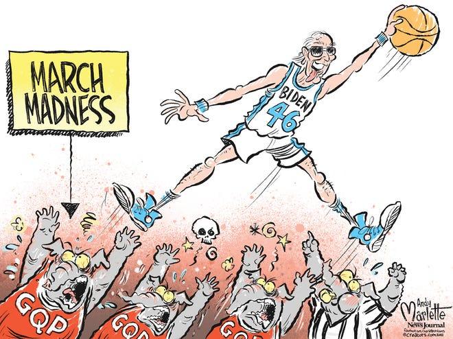 "Marlette cartoon: Biden's early successes inspiring ""March madness""..."