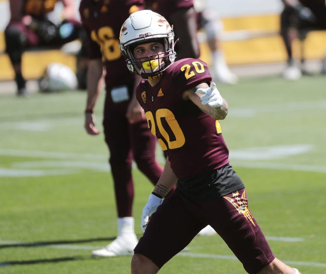 ASU WR Giovanni Sanders (20) lines up during spring football practice in Tempe, Ariz. March 28, 2021.