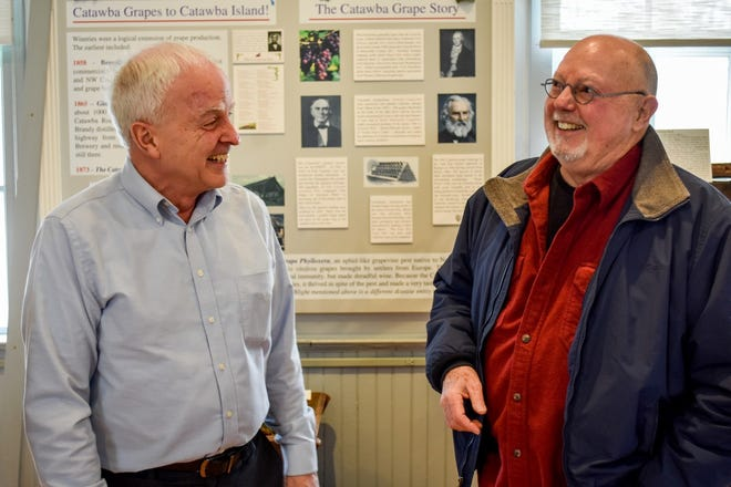 Jeff Brown, left, and Craig Koerpel spent countless hours maneuvering through the application process before the Union Chapel was granted National Register status.