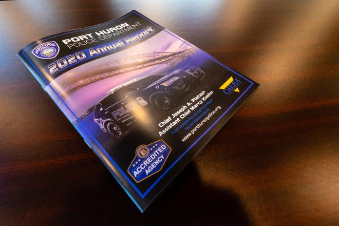 A copy of Port Huron Police's annual report, photographed Monday, March 29, 2021. While the report shows a decrease in the number of many crimes, some have increased.
