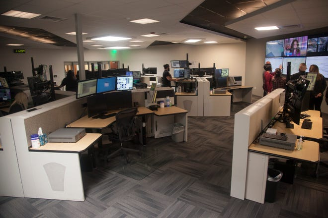 Dispatchers at the center in St. George hold a media day in their new location Monday, March 29, 2021.