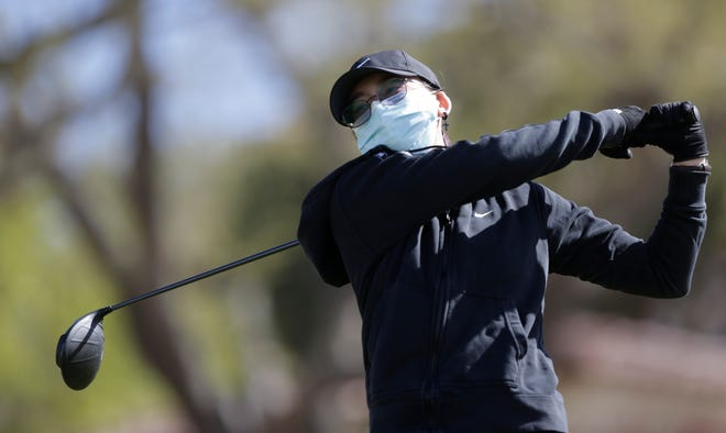 Erica Smith, of Pebble Hills High School tees off on the 10th green during the first round of District 1-6A on March 29, 2021