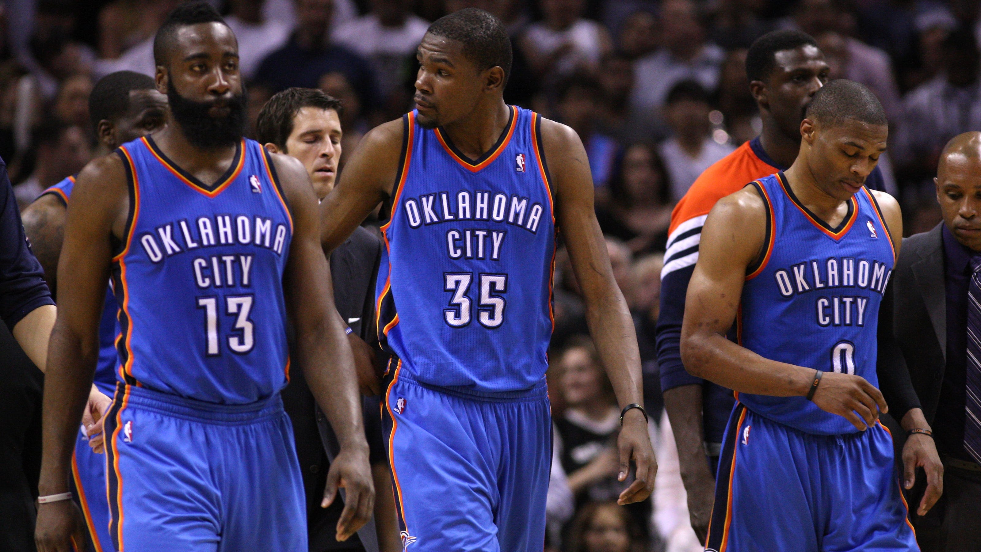 Russell Westbrook , James Harden and Kevin Durant