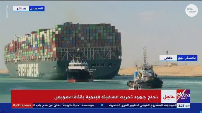 The skyscraper-sized container ship, Ever Given, is free and on the move after being stuck in the Suez Canal for nearly a week.