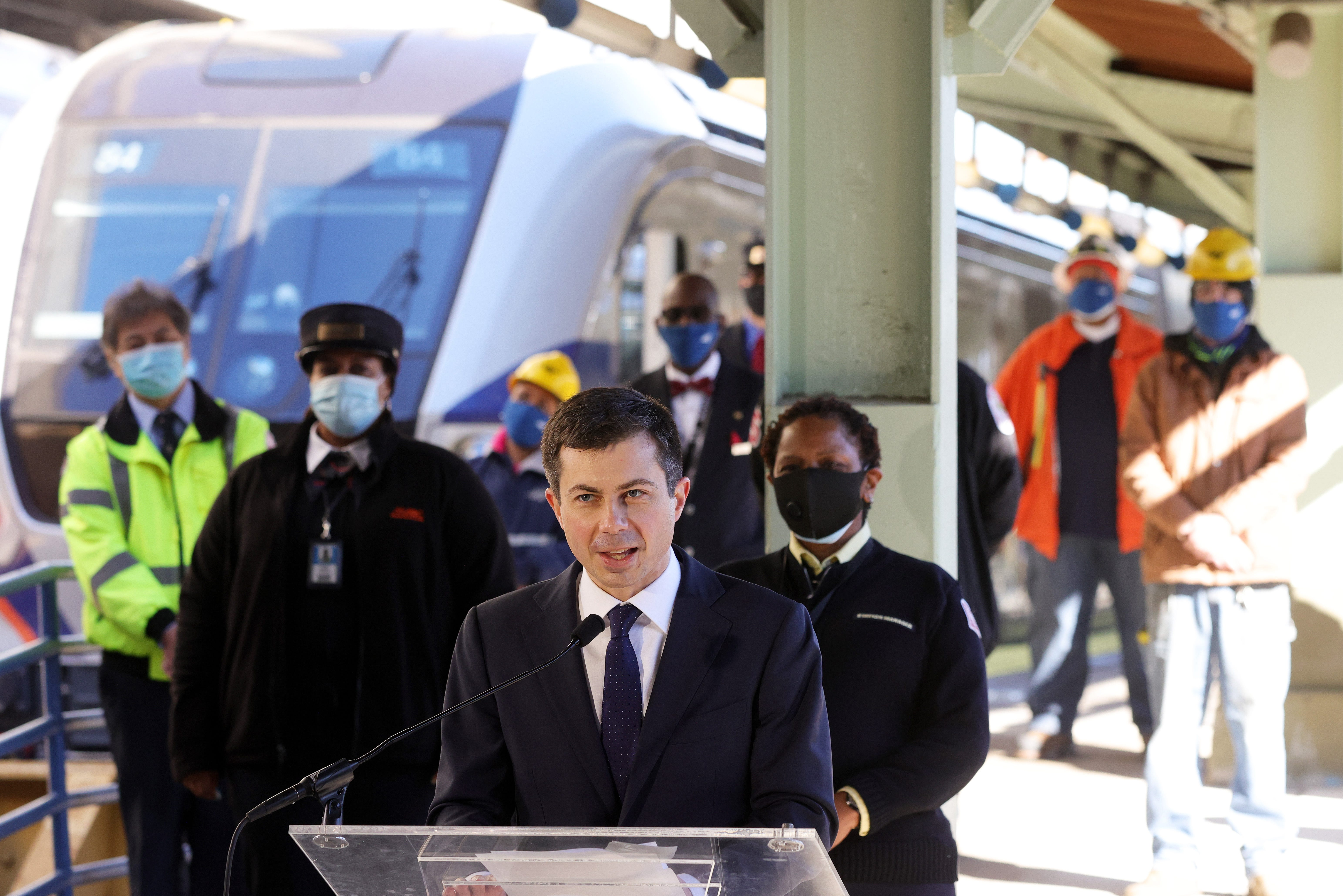Secretary of Transportation Pete Buttigieg speaks to Amtrak employees during a visit to Union Station February 5, 2021 in Washington, DC.
