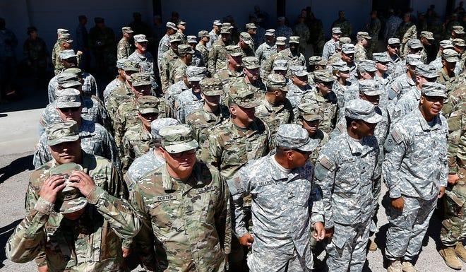 Arizona National Guard soldiers on April 9, 2018, in Phoenix.