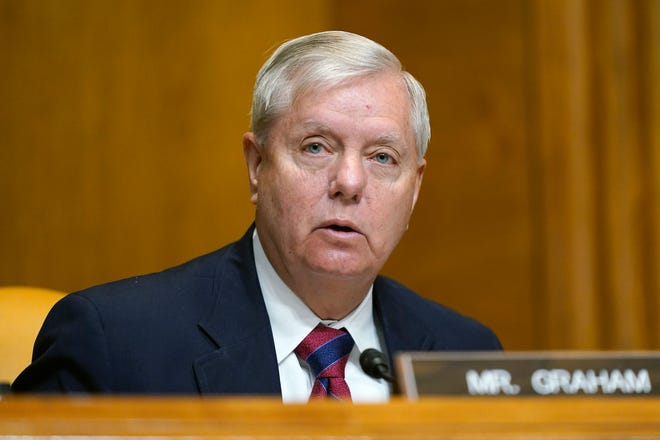 Sen. Lindsey Graham, R-S.C., speaks during a hearing to examine the nomination of Shalanda Young to be Deputy Director of the Office of Management and Budget on Capitol Hill in Washington, Tuesday, March 2, 2021.