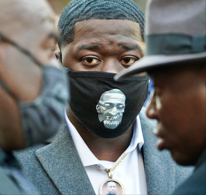 Brandon Williams, nephew of George Floyd, attends a press conference outside the Hennepin County Government Center on March 29, 2021.