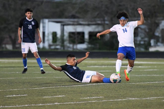 Cedar Creek's Jorge Leal comes up with a slide tackle to get the ball back for his team during the Eagles' 4-3 loss to Anderson last week.