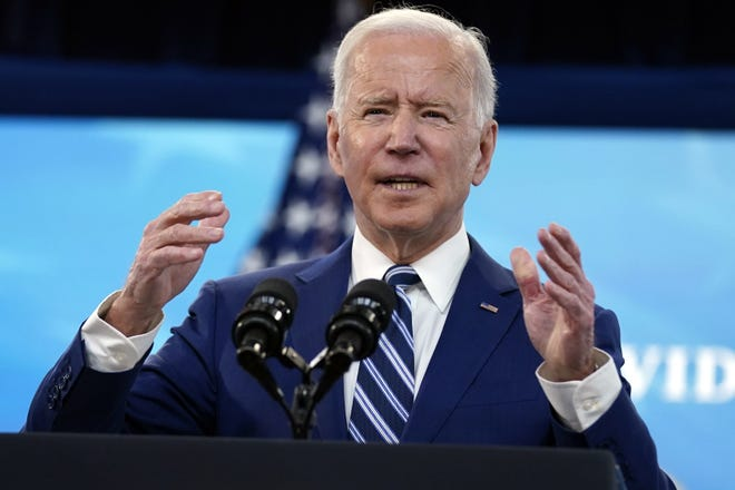 President Joe Biden speaks during an event on COVID-19 vaccinations at the White House on Monday. [AP Photo/Evan Vucci]