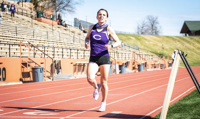 Canyon long-distance runner Breanna Stuart crosses the finish line during a race at the Amarillo Relays earlier in the season.