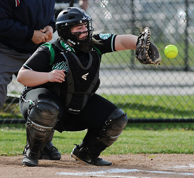 West Branch catcher Sam Morris works behind the plate in an Eastern Buckeye Conference game against Alliance at West Branch High School Tuesday, March 30, 2021.