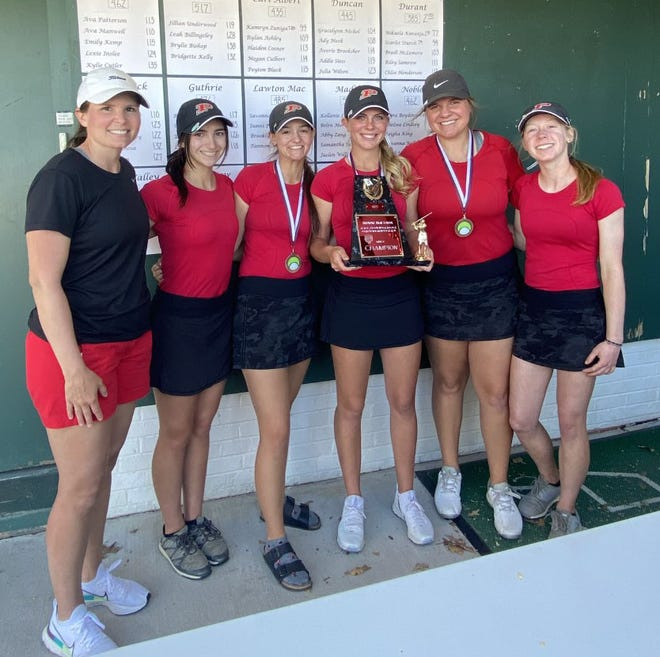 The Plainview girls golf team poses for a photo Monday after taking first during the Ardmore Tournament at Dornick Hills. The Lady Indians shot 355 as a team.