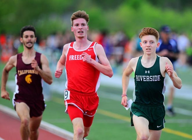 "Riverside senior Colby Belczyk (right), seen here in the 1600 at the 2019 WPIAL track and field championships at Slippery Rock University, will be among the top distance runners this year. This past winter, Belczyk was part of an all-star indoor relay team dubbed ""WPIAL's finest"" that notched the top time in the 4x800 relay."