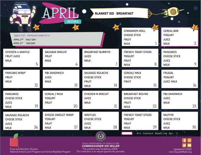 Blanket ISD April menus