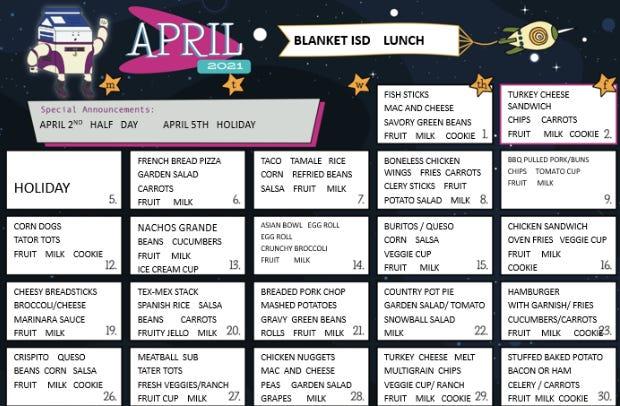 Blanket ISD lunch menu for April