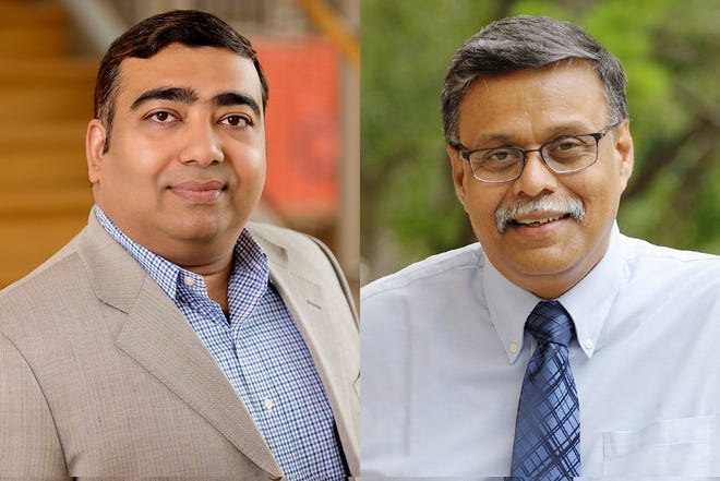 A new paper co-written by business professors Ujjal Kumar Mukherjee, left, and Sridhar Seshadri shows that rapid bulk-testing for COVID-19 along with other standard mitigation measures such as mask-wearing and social distancing were the keys to successfully reopening college campuses during the pandemic.