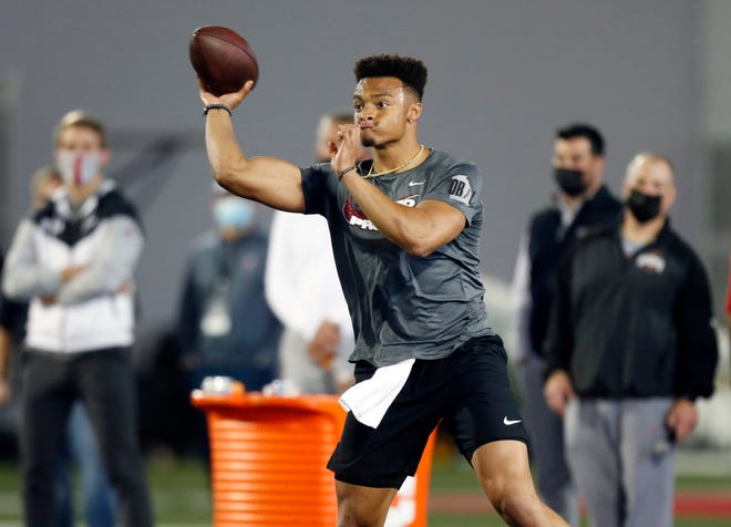Quarterback Justin Fields throws as part of a drill during an NFL Pro Day at Ohio State on Tuesday.