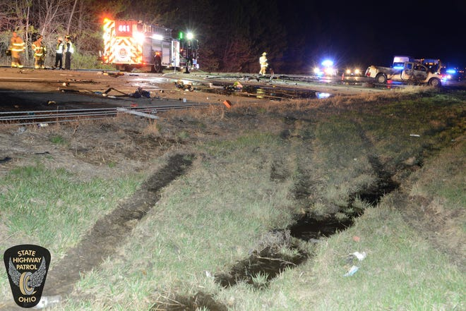 Downed freeway divider cables are visible following a crash Monday night that took place on Interstate 71 north of Polaris Fashion Place.