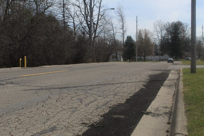 North Scott Street, looking south toward Maple Avenue, is pictured Tuesday. Scott Street between Maple and Riverside avenues is scheduled to be repaired this spring.