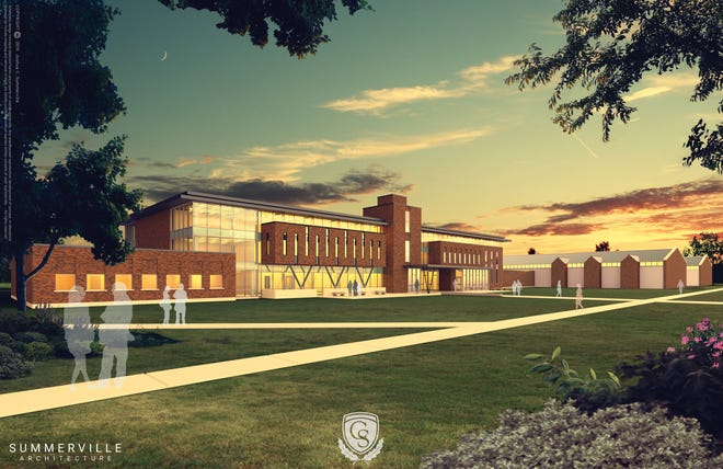 A digital rendering shows the tentative design of the Southern Regional Technology Center planned to be constructed at the Columbia State Community College campus in Maury County.
