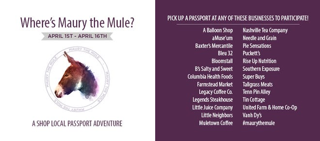 """Pick up a passport, shop local and win big as part of the Maury Chamber & Economic Alliance's annual """"Where's Maury The Mule?"""" contest, which runs through Friday, April 16."""