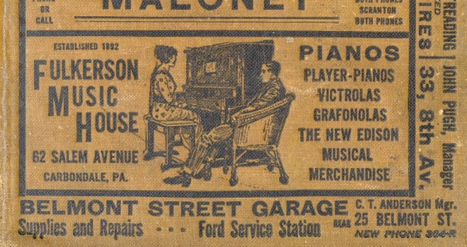 This advertisement for Fulkerson Music House appeared on the front cover for the 1920 Polk street directory of Carbondale, Pa. ... Lackawannapagenweb.com