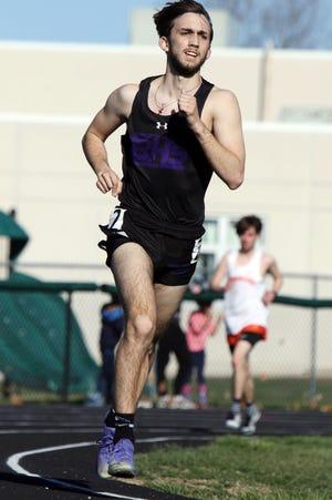 Burlington High School's Conor Stringer competes in the boys 3200 meter run during the West Burlington High School Falcon Relays boys track meet, Monday March 29, 2021 at West Burlington.