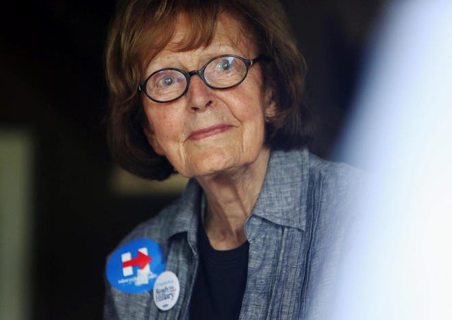 Former Iowa Secretary of State and Democratic supporter Elaine Baxter is shown May 17, 2015, during a house party she hosted at her home supporting Hillary Clinton's 2016 Presidential bid.