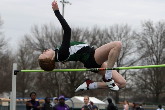 West Burlington-Notre Dame High School's Josie Bentz clears the bar during the high jump at the West Burlington High School girls Falcon Relays, Tuesday March 30, 2021 at West Burlington.