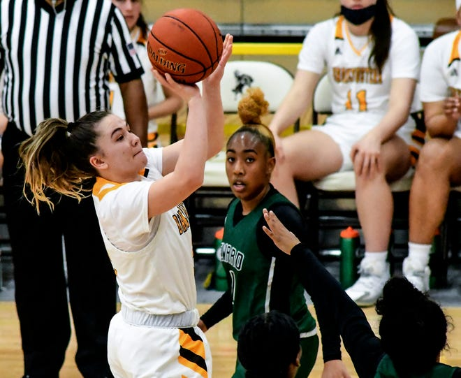 Garden City Community College's Kealani Neves goes up for a basket against Seward County March 24 at Perryman Athletic Complex.