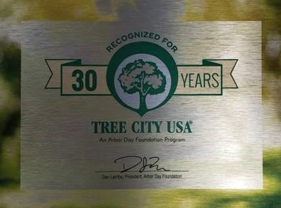This plaque signifies that the city of Hendersonville has been named as a Tree City USA for 30 years by completing all the requirements for that designation each year. A brief announcement will be made and the plaque, new stickers for signage around town and a large new Tree City USA flag will be shown during the tree planting event at Green Meadows community on Saturday, April 10. The Tree City USA program is sponsored by the national Arbor Day Foundation in partnership with the U.S. Forest Service and the National Association of State Foresters.