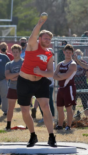 McPherson senior Hayden Wallace competes in the shot put at the Newton Invitational. McPherson competes Thursday at the Andale Invitational.