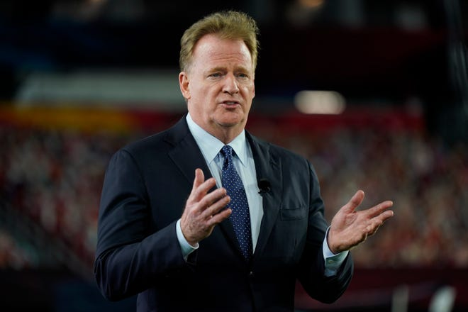 FILE - Commissioner Roger Goodell gestures during the NFL Honors ceremony as part of Super Bowl 55 in Tampa, Fla., in this Friday, Feb. 5, 2021, file photo.
