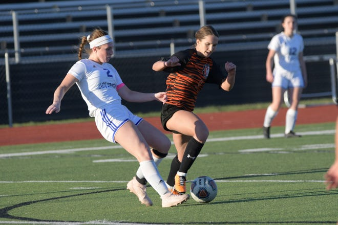 Moberly's Marin Tadrus (#2) send the soccer ball up field Monday during the Lady Spartans 1-0 loss at Kirksville.