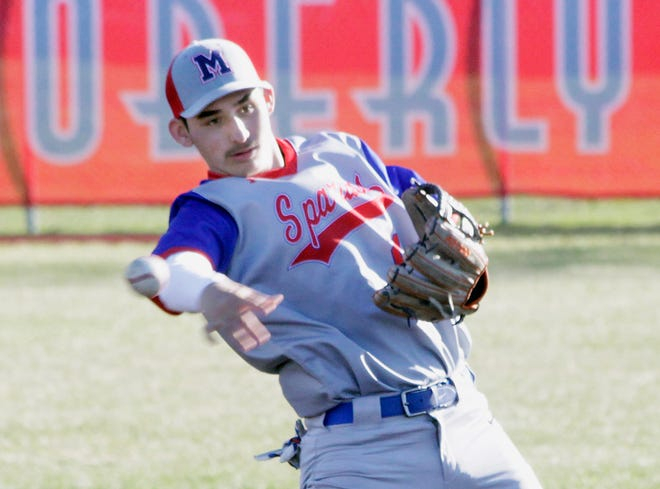 Moberly second baseman Chris Coonce leans backwarrd as he makes a throw to first base Monday during the Spartans 10-3 home baseball loss to Kirksville.
