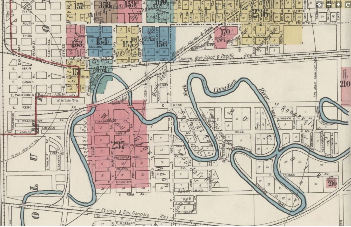 The Oklahoma River, shown in this 1921 map, was a meandering prairie waterway when Black residents were forced by Jim Crow laws to live in the area. In 1968, a scrapyard opened south of the neighborhood and has been blamed for years of explosions.