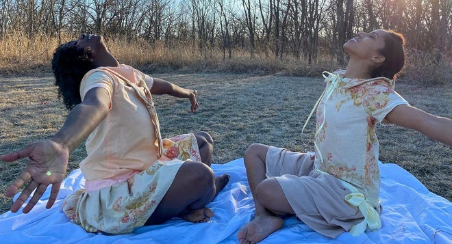 """Marie Casimir, left, and J'aime Griffith appear in a scene from their dance film """"I Dream of Greenwood."""""""