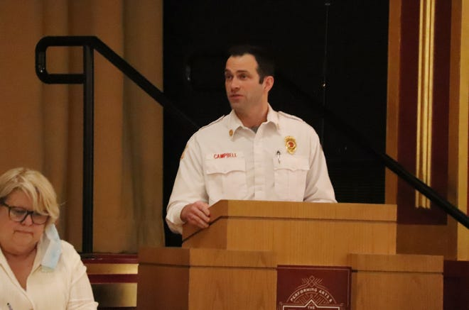 Pontiac Fire Chief Jake Campbell addresses the city council at its special meeting Monday to ask for a new tower ladder truck for his department. It was approved.