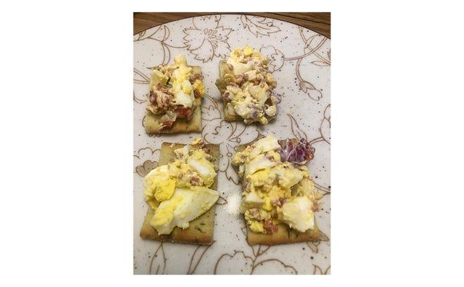 Gloria's egg salad on crackers.