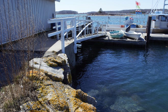 Selectmen have approved funding to stabilize the headwall in this corner of the Cape Porpoise Pier, pictured here in March 2021.
