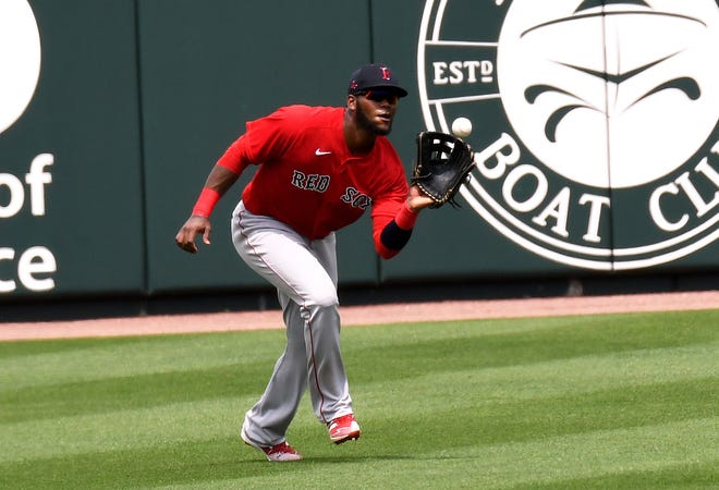 Red Sox outfielder Franchy Cordero makes a catch in the fourth inning against the Atlanta Braves on Monday.